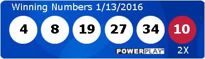 Выигрышные номера в лотерее Powerball 13/01/2016